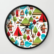 Cute indian haunting illustration pattern Wall Clock