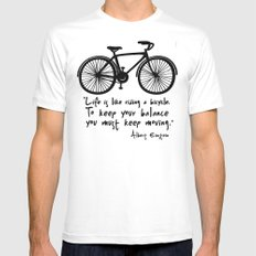 Life is like riding a bicycle... MEDIUM White Mens Fitted Tee