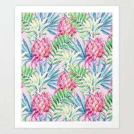 Pineapple & watercolor leaves Art Print