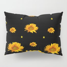 GOLDEN STARS YELLOW SUNFLOWERS  BLACK COLOR Pillow Sham