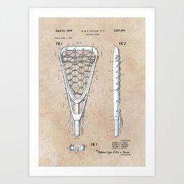 patent art Tucker Lacrosse stick 1967 Art Print