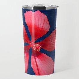 Hibiscus on Blue Travel Mug