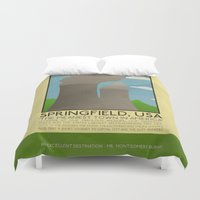 simpsons Duvet Covers featuring Silver Screen Tourism: SPRINGFIELD, USA / THE SIMPSONS by Stone Heart Media