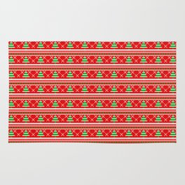 Pixeled Christmas Tree On Red Christmas Pattern Rug