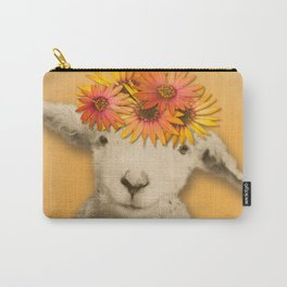 Daisies Sheep Girl Portrait, Mustard Yellow Texturized Backgroud Carry-All Pouch