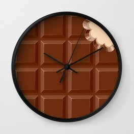 Chocolate Sweet Bar with a bite out of the corner Wall Clock