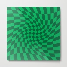 Green and Dark Green Twisted Checker Print Metal Print
