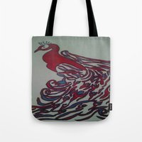 steelers Tote Bags featuring Royal Blue and Red Abstract Peacock Painting by Melissa's Art
