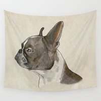 bulldog Wall Tapestries featuring Bulldog by Marta Bocos