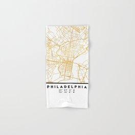 PHILADELPHIA PENNSYLVANIA CITY STREET MAP ART Hand & Bath Towel