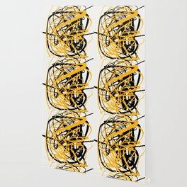 Zen abstract art in yellow and black Wallpaper