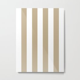 Vertical Stripes - White and Khaki Brown Metal Print