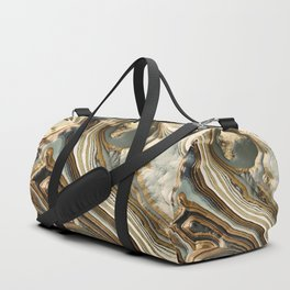 White Gold Agate Abstract Duffle Bag