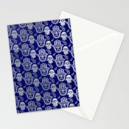 Hamsa Hand pattern - pearl and silver on lapis lazuli Stationery Cards