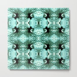Shiny Green Flower Design, Pattern Metal Print