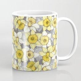Daffodil Daze - yellow & grey daffodil illustration pattern Coffee Mug