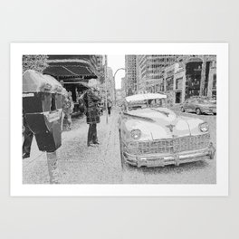 Memories of a New York Taxi and downtown streets Art Print
