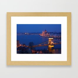 Panorama of Budapest, Hungary, with the Chain Bridge and the Parliament. Framed Art Print
