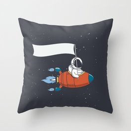 Astronaut Holds a flag in Rocket Throw Pillow