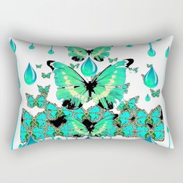 AQUA RAIN, AQUA BUTTERFLIES ABSTRACT ART Rectangular Pillow