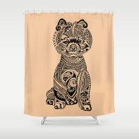 pomeranian Shower Curtains featuring Polynesian Pomeranian by Huebucket