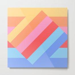 Matted Pastel Rainbow Layered Metal Print