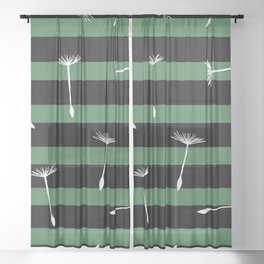 flying dandelion seeds simple seamless pattern on Dark Green Stripes Background Sheer Curtain