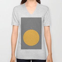 Monochrome Geometric Pattern Clash Abstract Yellow Circle Unisex V-Neck
