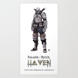 Ruger -Paladin - WHITE - Haven Book Series  Art Print