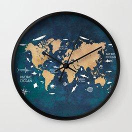 World Map Oceans Life blue #map #world Wall Clock