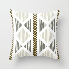 Tribal Prints, Luxurious Earth Tones and Geometric Patterns Throw Pillow
