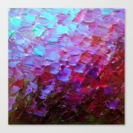 MERMAID SCALES - Colorful Ombre Abstract Acrylic Impasto Painting Violet Purple Plum Ocean Waves Art Canvas Print