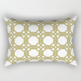Gold & White Knotted Design Rectangular Pillow