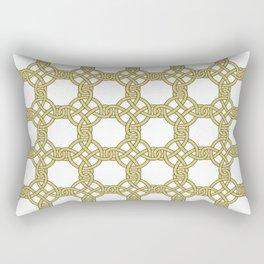 Gold & White Knotted Design Rectangular Pillow