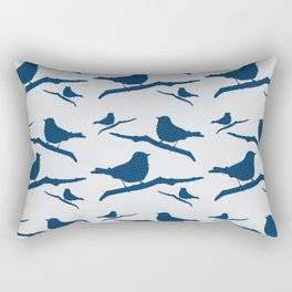 Blue Silhouette Bird Rectangular Pillow