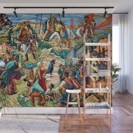 """African American Classical Masterpiece """"Justice Under the Law"""" by Hale Woodruff Wall Mural"""