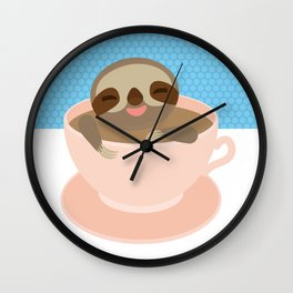 Sloth in a Pink cup coffee, tea, Three-toed sloth Wall Clock