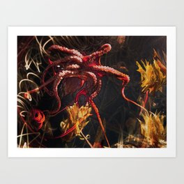 Blooming Crimson Octopus Art Print