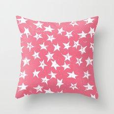 Linocut Stars- Blush & White Throw Pillow