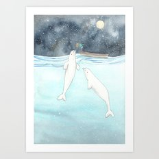 Beluga love Art Print