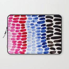 Cold Blue Magenta Colorful Primitive Pattern Watercolor Scales Abstract Laptop Sleeve