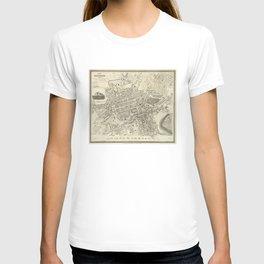 Vintage Map of Edinburgh Scotland (1844) T-shirt