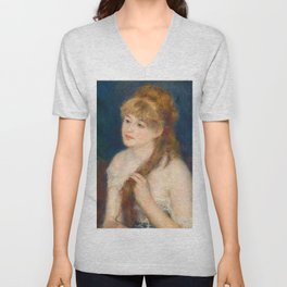 Pierre-Auguste Renoir - Young Woman Braiding Her Hair - Digital Remastered Edition Unisex V-Neck