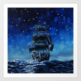 Black Pearl Starry Night Art Print