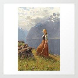 Hans Dahl 1849 - 1937 NORWEGIAN DEN UNGE SLÅTTEKAREN (THE YOUNG HARVESTER) Art Print