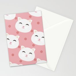 Cute white cat Stationery Cards