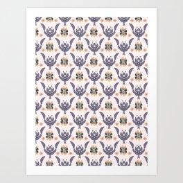 Boho Purple Floral Pattern Art Print