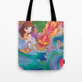 Girl and Dragons Tote Bag