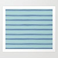 Cobalt blue french striped Art Print
