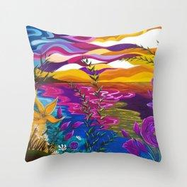 Floral Beach, Bright Floral Beach, Abstract Floral Ocean Throw Pillow